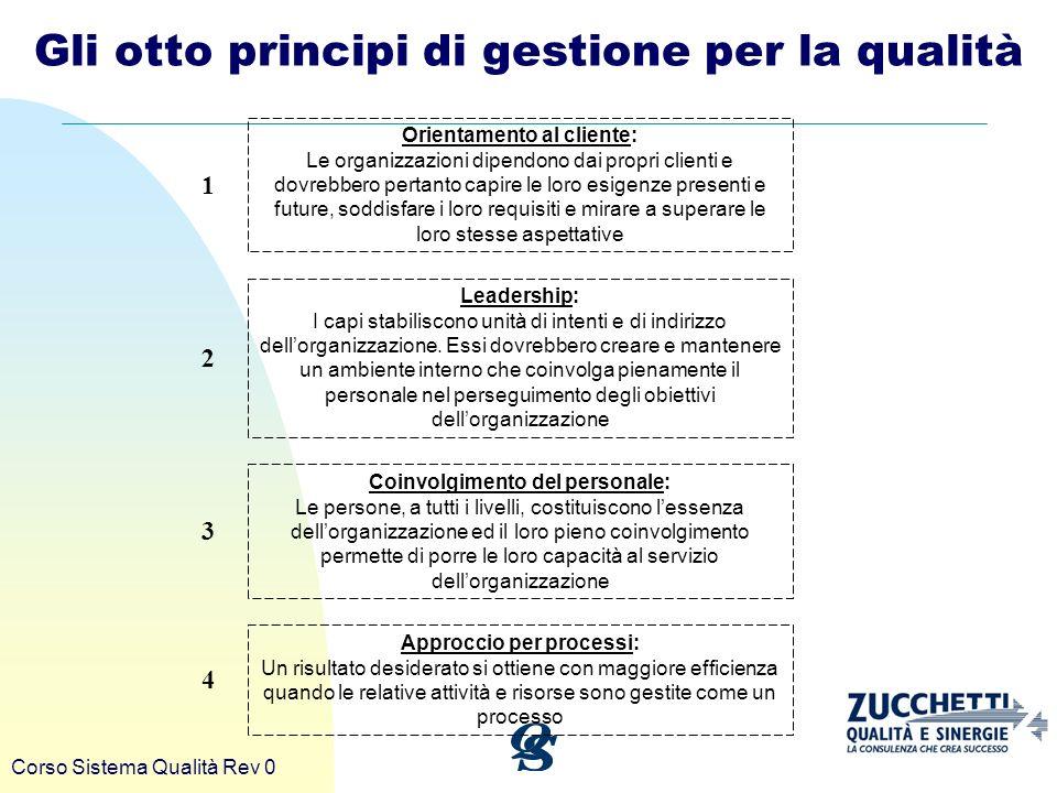 Corso Sistema Qualità Rev 0 Gli otto principi di gestione per la qualità Approccio per processi: Un risultato desiderato si ottiene con maggiore effic