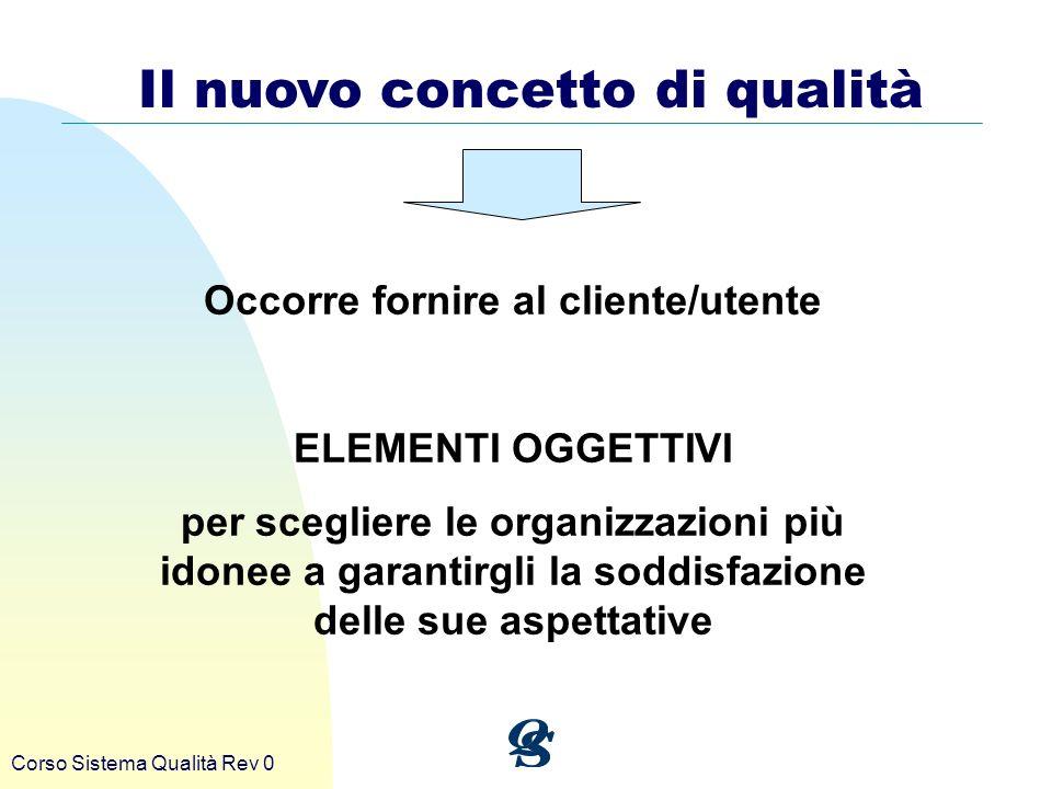 Corso Sistema Qualità Rev 0 Il nuovo concetto di qualità Occorre fornire al cliente/utente ELEMENTI OGGETTIVI per scegliere le organizzazioni più idon