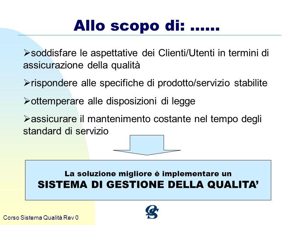 Corso Sistema Qualità Rev 0 Allo scopo di: …… soddisfare le aspettative dei Clienti/Utenti in termini di assicurazione della qualità rispondere alle s
