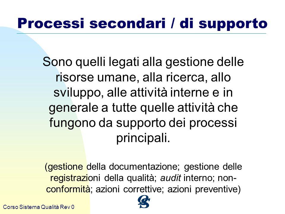 Corso Sistema Qualità Rev 0 Processi secondari / di supporto Sono quelli legati alla gestione delle risorse umane, alla ricerca, allo sviluppo, alle a