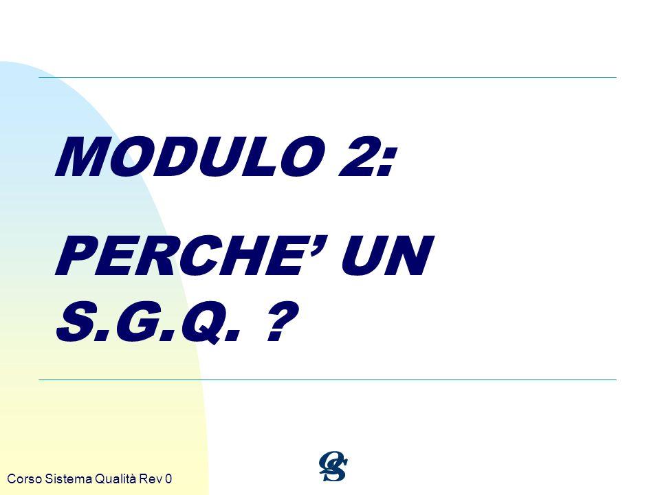 Corso Sistema Qualità Rev 0 MODULO 2: PERCHE UN S.G.Q. ?