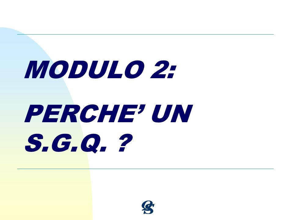 MODULO 2: PERCHE UN S.G.Q. ?