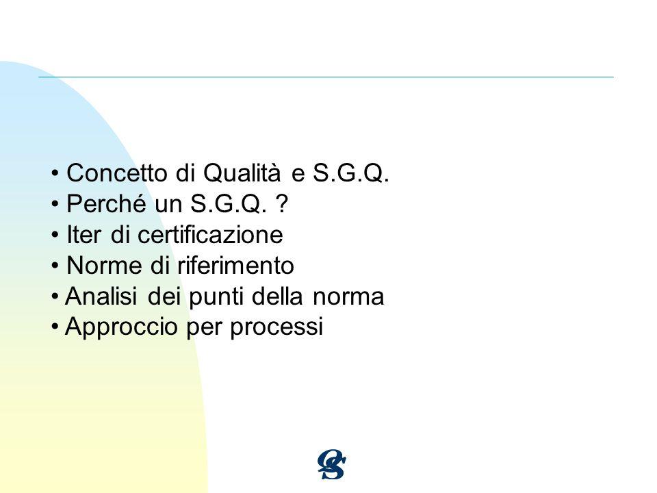 Concetto di Qualità e S.G.Q. Perché un S.G.Q. ? Iter di certificazione Norme di riferimento Analisi dei punti della norma Approccio per processi
