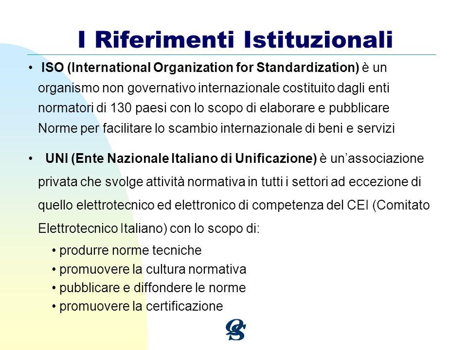 I Riferimenti Istituzionali ISO (International Organization for Standardization) è un organismo non governativo internazionale costituito dagli enti n
