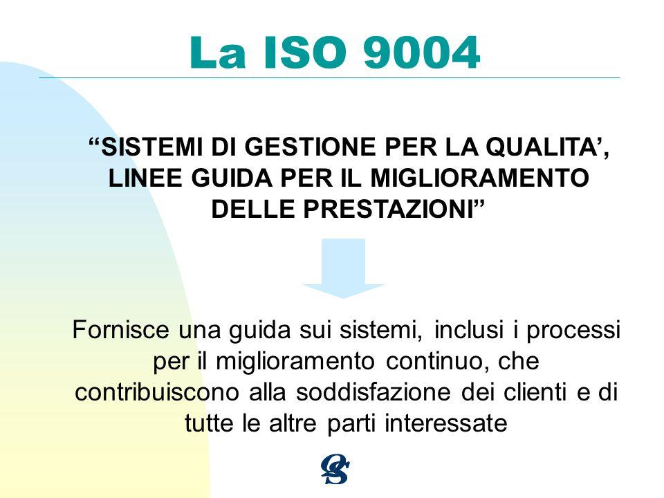 La ISO 9004 SISTEMI DI GESTIONE PER LA QUALITA, LINEE GUIDA PER IL MIGLIORAMENTO DELLE PRESTAZIONI Fornisce una guida sui sistemi, inclusi i processi