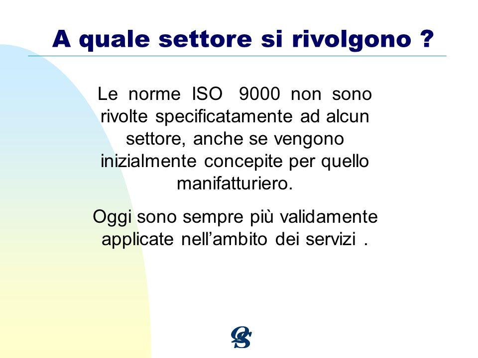 A quale settore si rivolgono ? Le norme ISO 9000 non sono rivolte specificatamente ad alcun settore, anche se vengono inizialmente concepite per quell