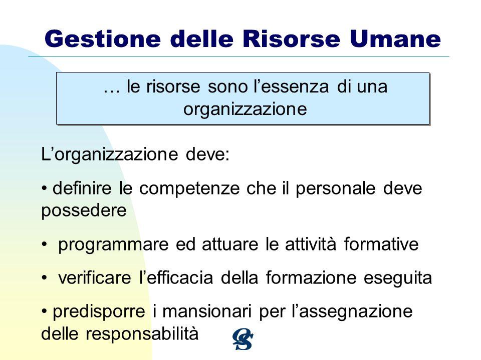 … le risorse sono lessenza di una organizzazione Gestione delle Risorse Umane Lorganizzazione deve: definire le competenze che il personale deve posse