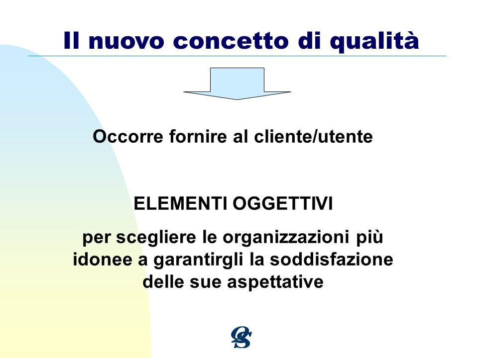 Il nuovo concetto di qualità Occorre fornire al cliente/utente ELEMENTI OGGETTIVI per scegliere le organizzazioni più idonee a garantirgli la soddisfa