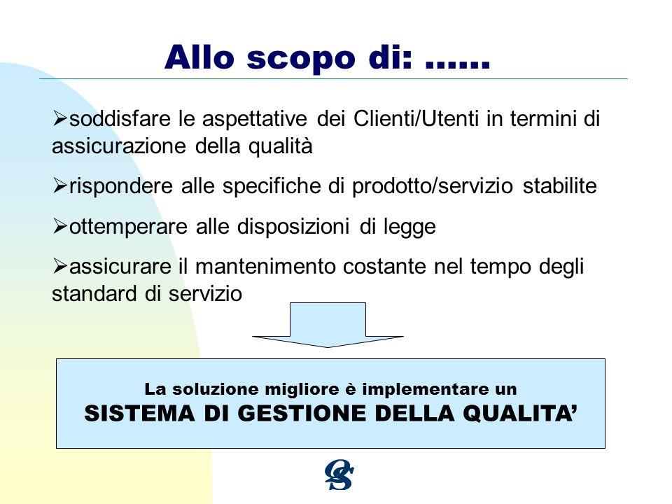 Allo scopo di: …… soddisfare le aspettative dei Clienti/Utenti in termini di assicurazione della qualità rispondere alle specifiche di prodotto/serviz