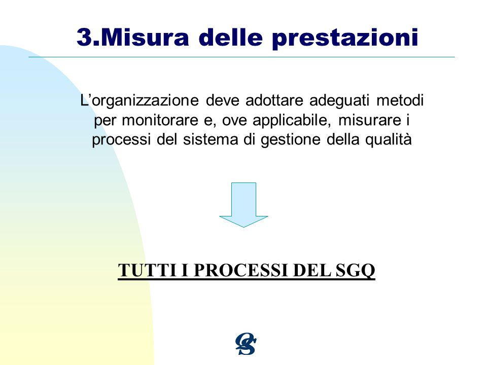 3.Misura delle prestazioni Lorganizzazione deve adottare adeguati metodi per monitorare e, ove applicabile, misurare i processi del sistema di gestion