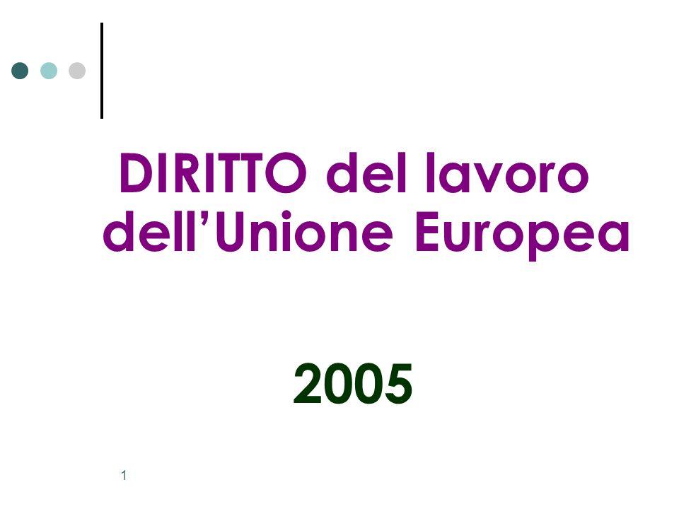 1 DIRITTO del lavoro dellUnione Europea 2005