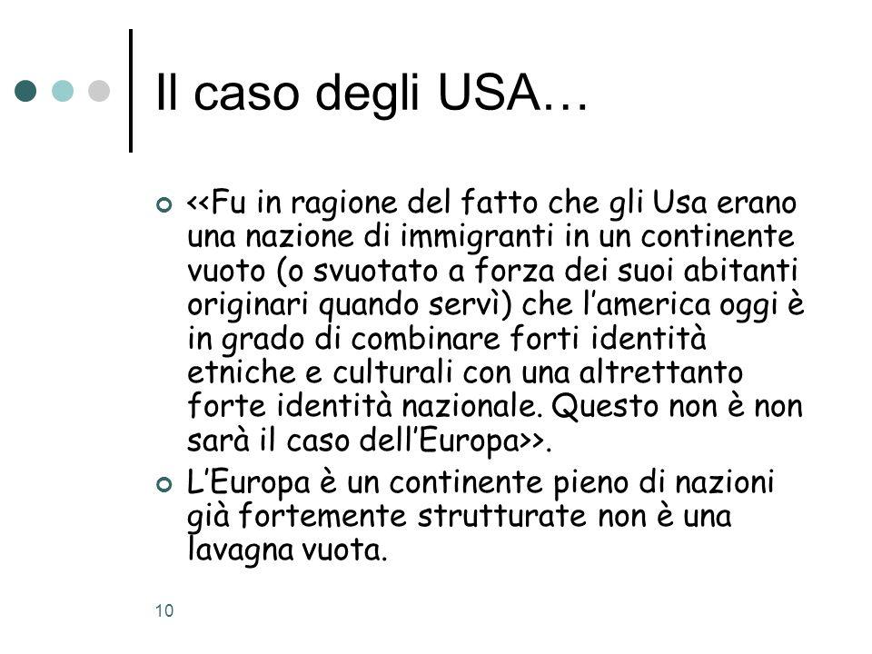 10 Il caso degli USA… >. LEuropa è un continente pieno di nazioni già fortemente strutturate non è una lavagna vuota.