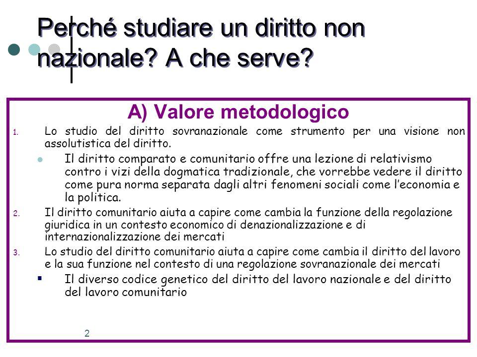 2 Perché studiare un diritto non nazionale? A che serve? A) Valore metodologico 1. Lo studio del diritto sovranazionale come strumento per una visione