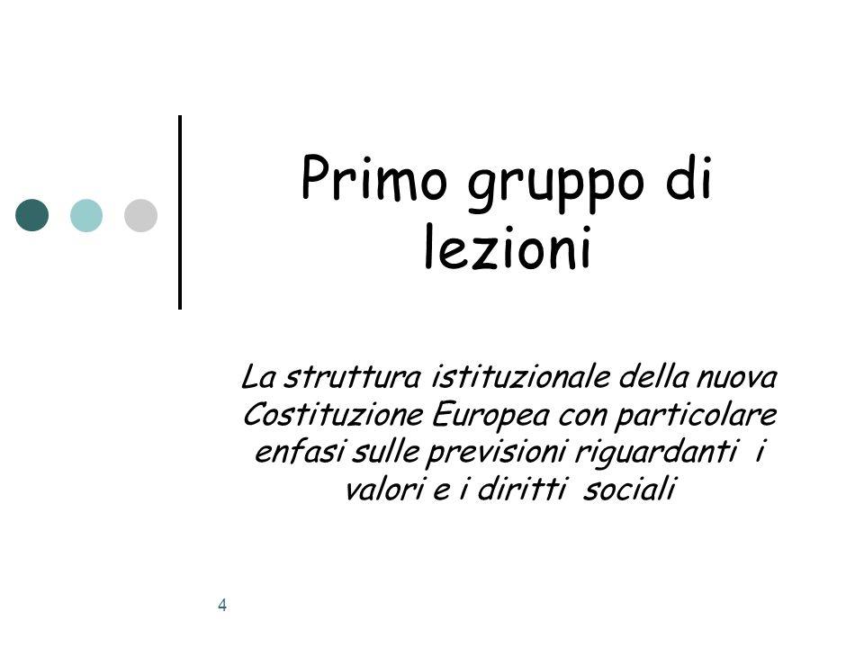4 Primo gruppo di lezioni La struttura istituzionale della nuova Costituzione Europea con particolare enfasi sulle previsioni riguardanti i valori e i