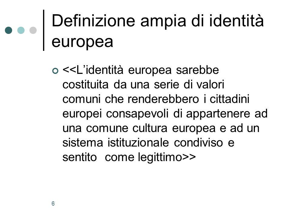 6 Definizione ampia di identità europea >