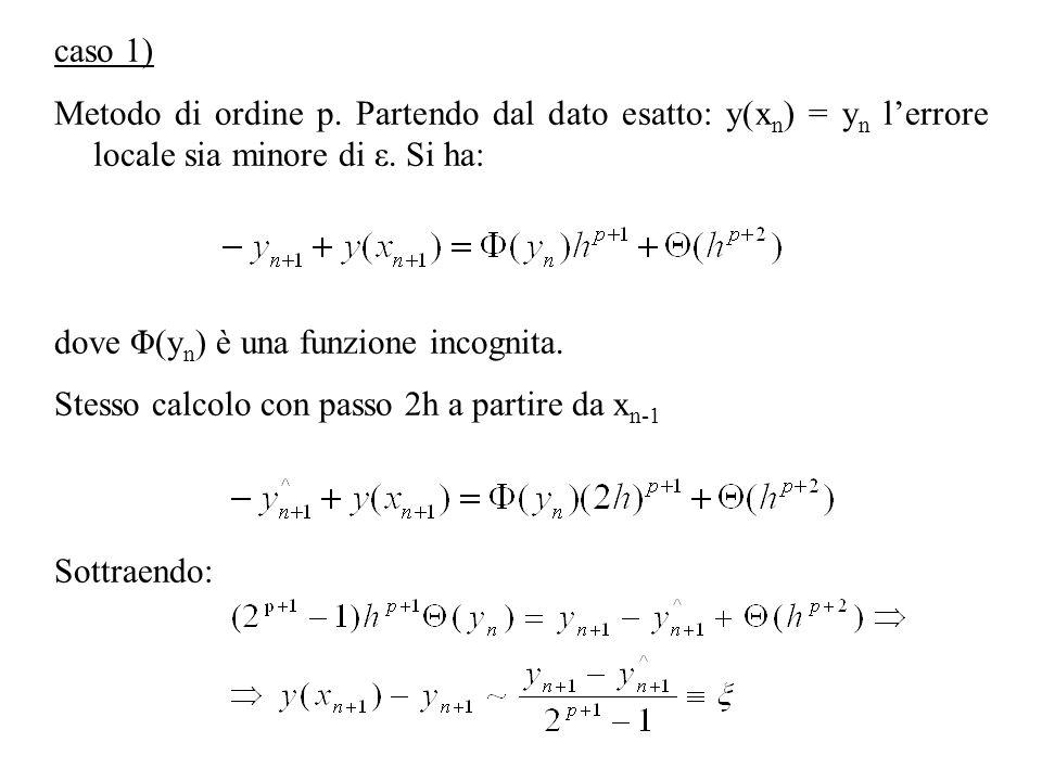 caso 1) Metodo di ordine p. Partendo dal dato esatto: y(x n ) = y n lerrore locale sia minore di ε. Si ha: dove Φ(y n ) è una funzione incognita. Stes