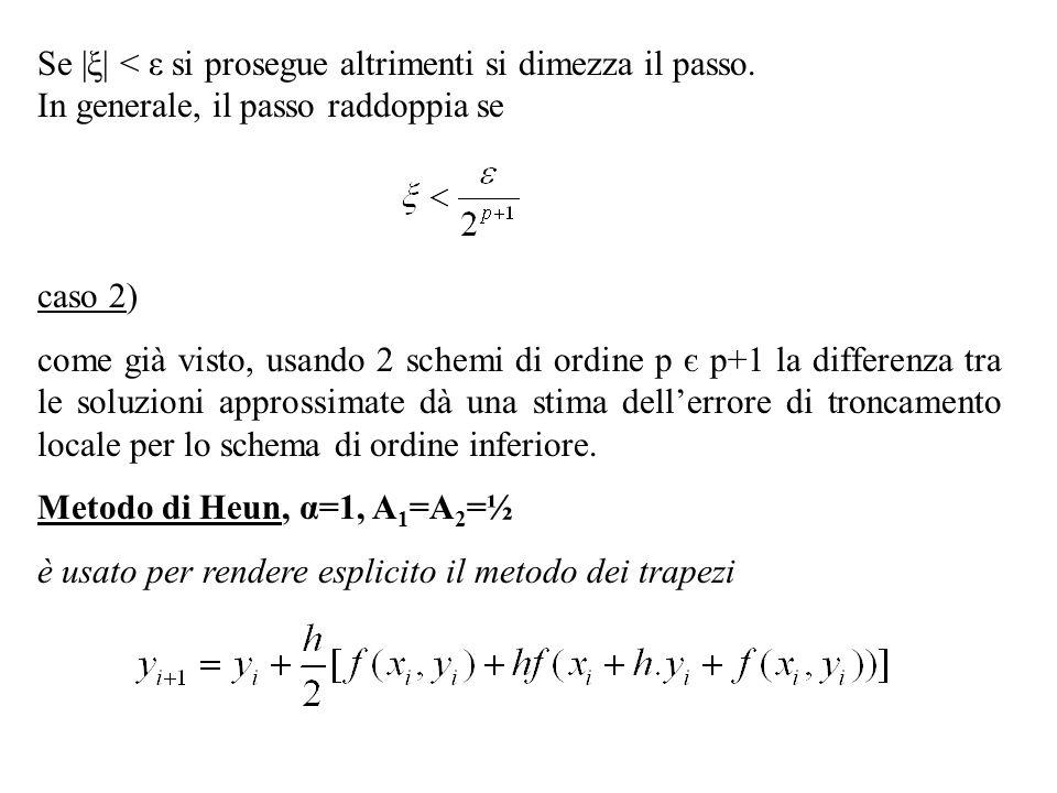 Se  ξ  < ε si prosegue altrimenti si dimezza il passo. In generale, il passo raddoppia se caso 2) come già visto, usando 2 schemi di ordine p є p+1 la