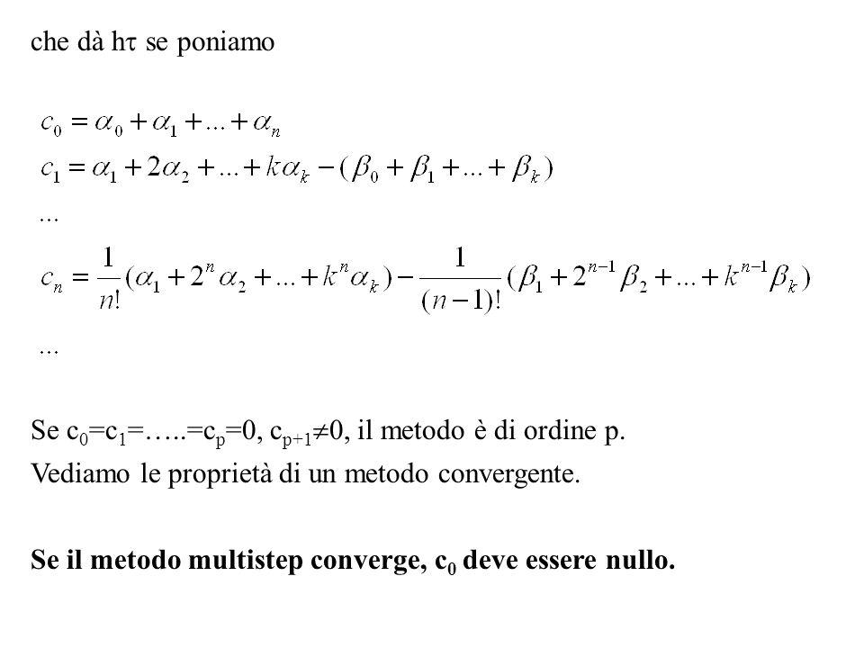 che dà h se poniamo Se c 0 =c 1 =…..=c p =0, c p+1 0, il metodo è di ordine p. Vediamo le proprietà di un metodo convergente. Se il metodo multistep c