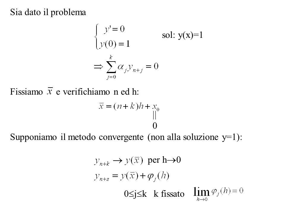 Sia dato il problema sol: y(x)=1 Fissiamo e verifichiamo n ed h: 0 Supponiamo il metodo convergente (non alla soluzione y=1): per h 0 0 j k k fissato