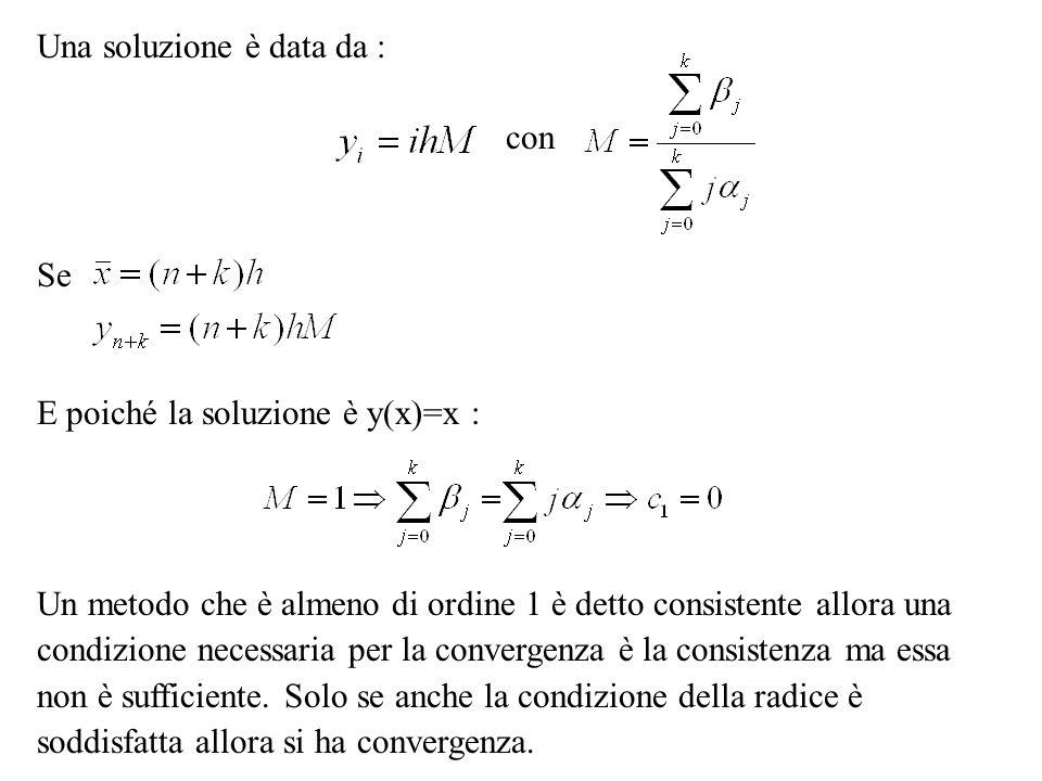 Una soluzione è data da : con Se E poiché la soluzione è y(x)=x : Un metodo che è almeno di ordine 1 è detto consistente allora una condizione necessa