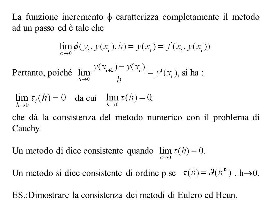 La funzione incremento caratterizza completamente il metodo ad un passo ed è tale che Pertanto, poiché, si ha : che dà la consistenza del metodo numer