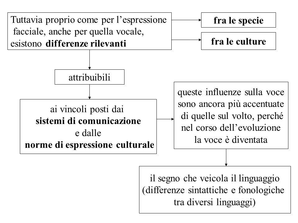 Tuttavia proprio come per lespressione facciale, anche per quella vocale, esistono differenze rilevanti fra le specie fra le culture attribuibili ai v