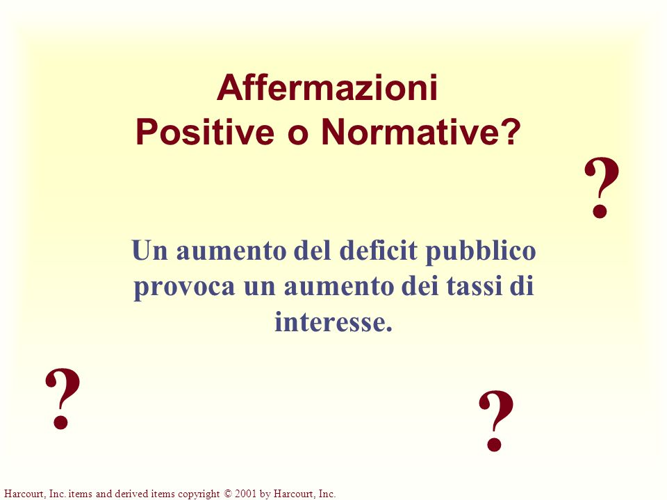 Harcourt, Inc. items and derived items copyright © 2001 by Harcourt, Inc. ? ? ? Affermazioni Positive o Normative? Un aumento del deficit pubblico pro