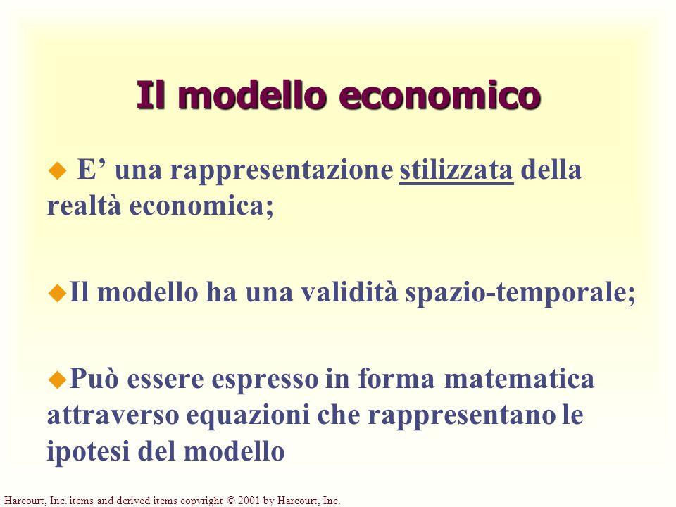 Harcourt, Inc. items and derived items copyright © 2001 by Harcourt, Inc. Il modello economico u E una rappresentazione stilizzata della realtà econom
