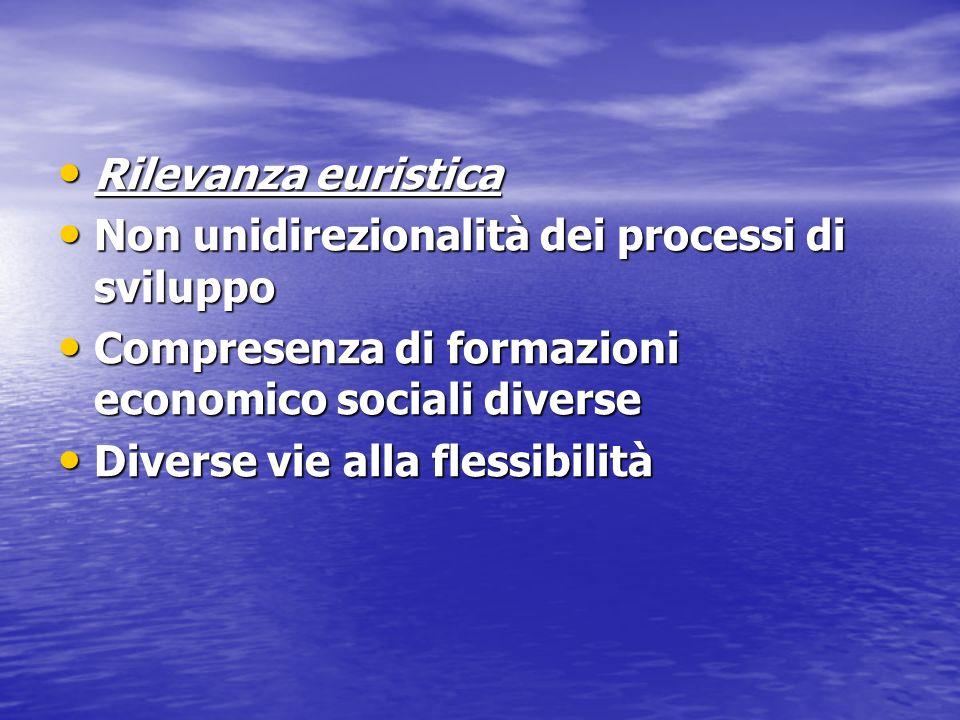Rilevanza euristica Rilevanza euristica Non unidirezionalità dei processi di sviluppo Non unidirezionalità dei processi di sviluppo Compresenza di for