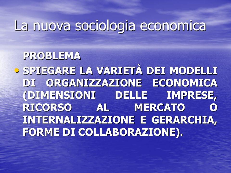 La nuova sociologia economica PROBLEMA PROBLEMA SPIEGARE LA VARIETÀ DEI MODELLI DI ORGANIZZAZIONE ECONOMICA (DIMENSIONI DELLE IMPRESE, RICORSO AL MERC