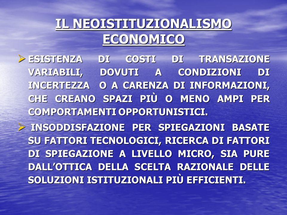 IL NEOISTITUZIONALISMO ECONOMICO ESISTENZA DI COSTI DI TRANSAZIONE VARIABILI, DOVUTI A CONDIZIONI DI INCERTEZZA O A CARENZA DI INFORMAZIONI, CHE CREAN