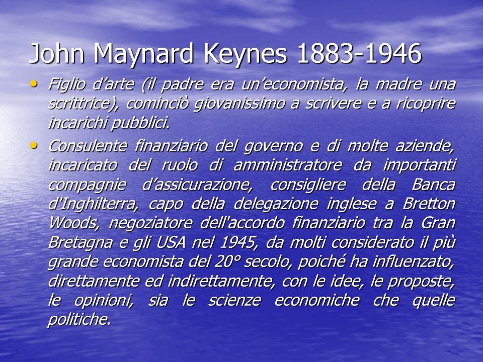 John Maynard Keynes 1883-1946 Figlio darte (il padre era uneconomista, la madre una scrittrice), cominciò giovanissimo a scrivere e a ricoprire incari