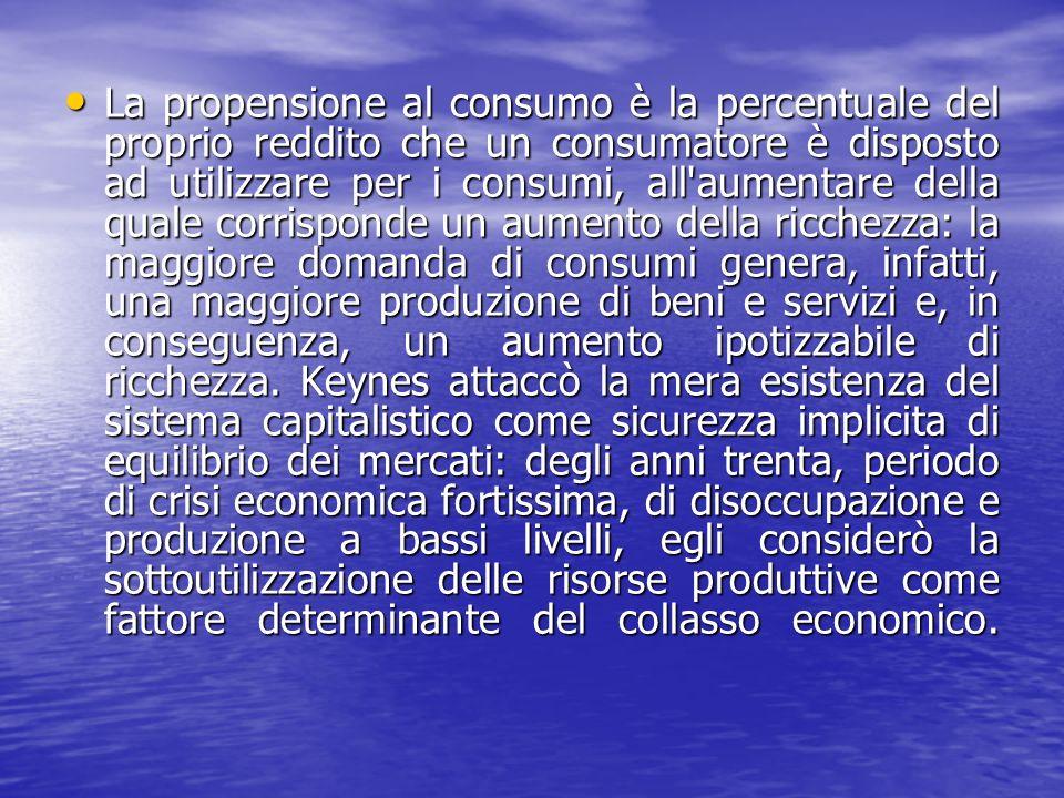 La propensione al consumo è la percentuale del proprio reddito che un consumatore è disposto ad utilizzare per i consumi, all'aumentare della quale co