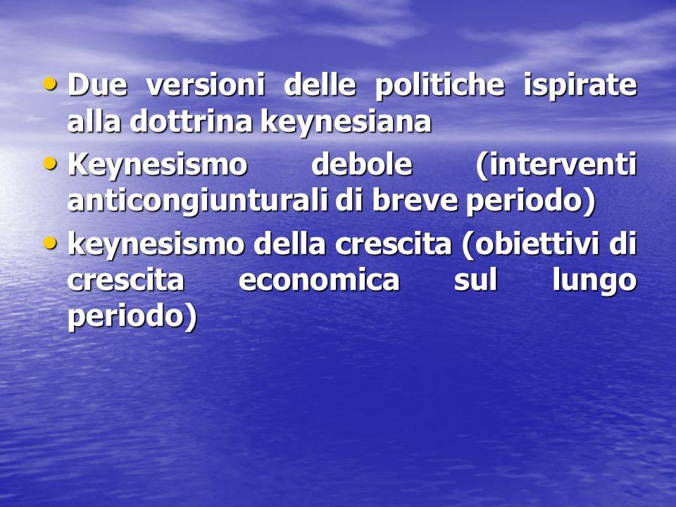 Due versioni delle politiche ispirate alla dottrina keynesiana Due versioni delle politiche ispirate alla dottrina keynesiana Keynesismo debole (inter
