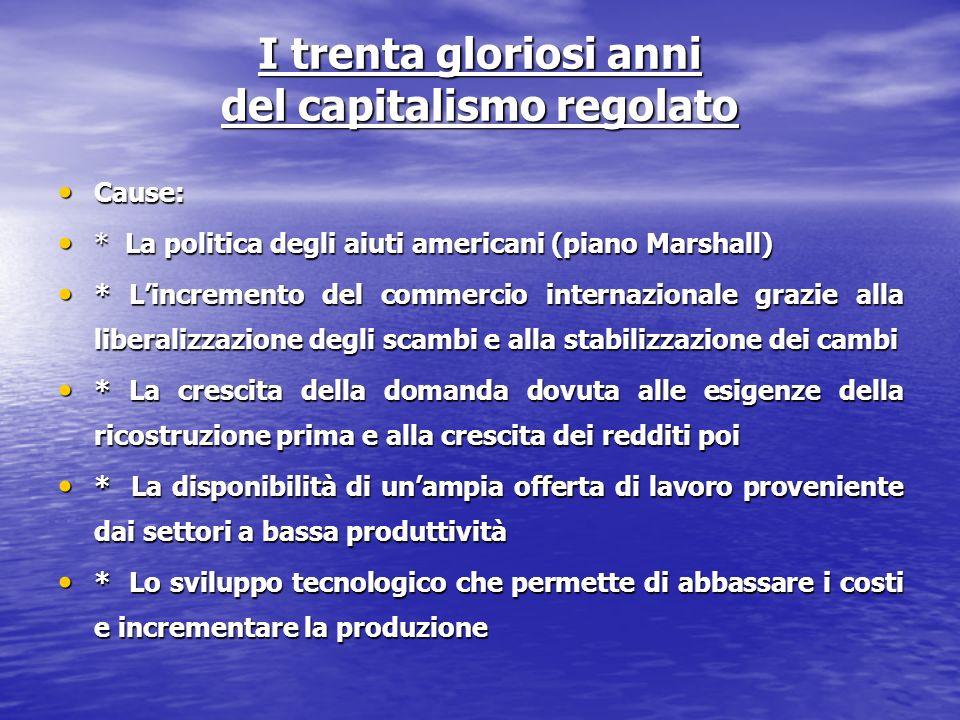 I trenta gloriosi anni del capitalismo regolato Cause: Cause: * La politica degli aiuti americani (piano Marshall) * La politica degli aiuti americani