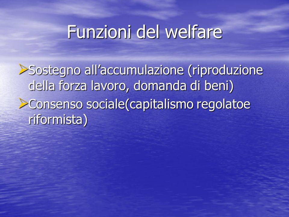 Funzioni del welfare Sostegno allaccumulazione (riproduzione della forza lavoro, domanda di beni) Sostegno allaccumulazione (riproduzione della forza