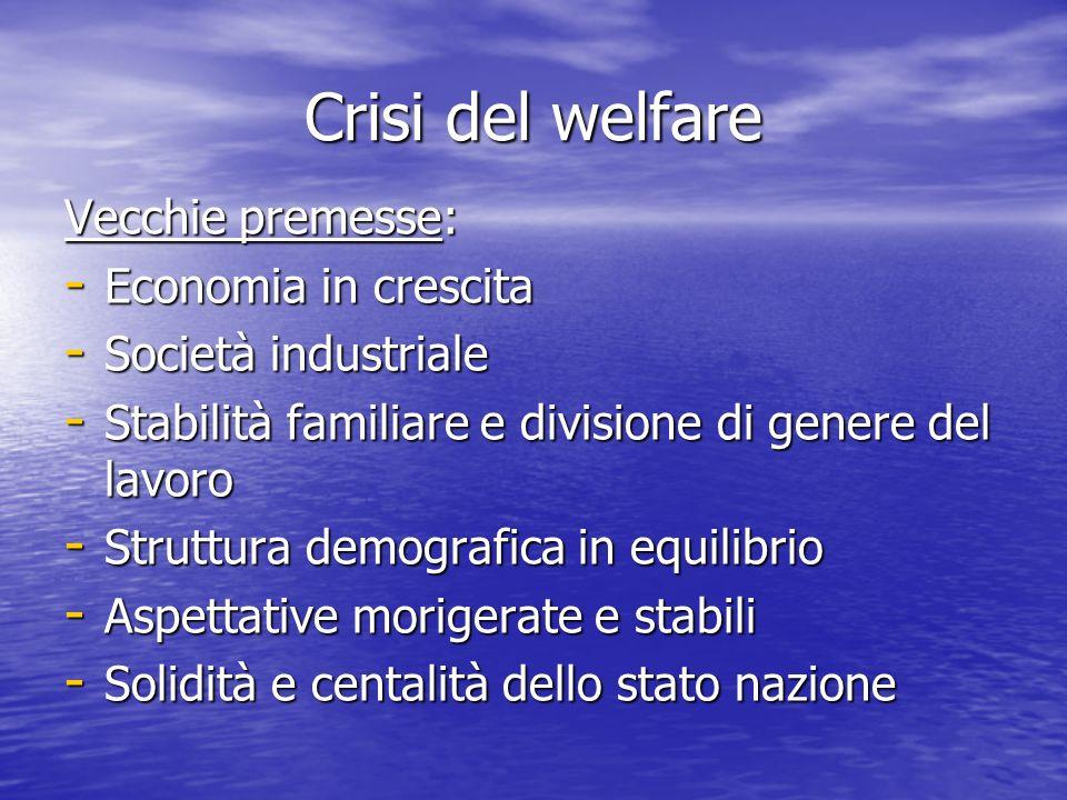 Crisi del welfare Vecchie premesse: - Economia in crescita - Società industriale - Stabilità familiare e divisione di genere del lavoro - Struttura de