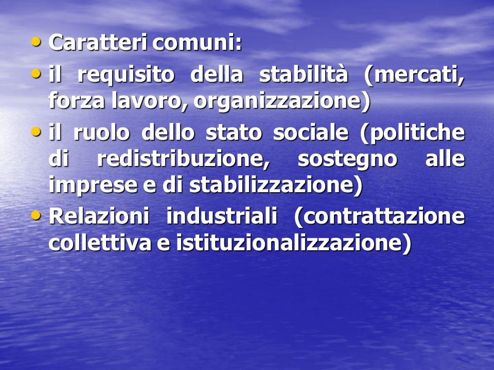 Caratteri comuni: Caratteri comuni: il requisito della stabilità (mercati, forza lavoro, organizzazione) il requisito della stabilità (mercati, forza
