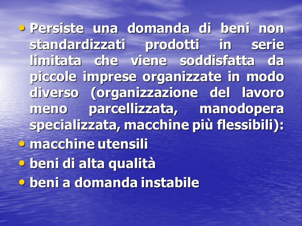 Persiste una domanda di beni non standardizzati prodotti in serie limitata che viene soddisfatta da piccole imprese organizzate in modo diverso (organ