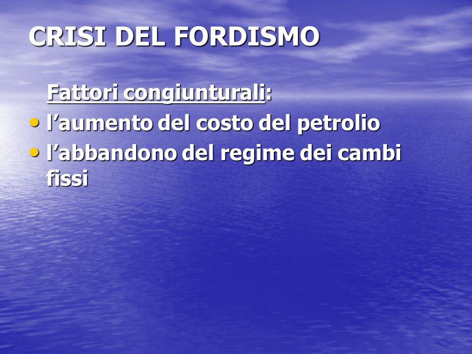 CRISI DEL FORDISMO Fattori congiunturali: Fattori congiunturali: laumento del costo del petrolio laumento del costo del petrolio labbandono del regime