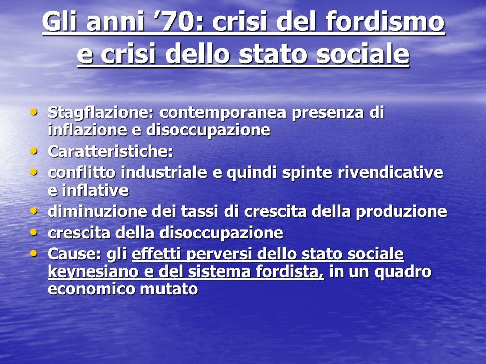 Gli anni 70: crisi del fordismo e crisi dello stato sociale Stagflazione: contemporanea presenza di inflazione e disoccupazione Stagflazione: contempo