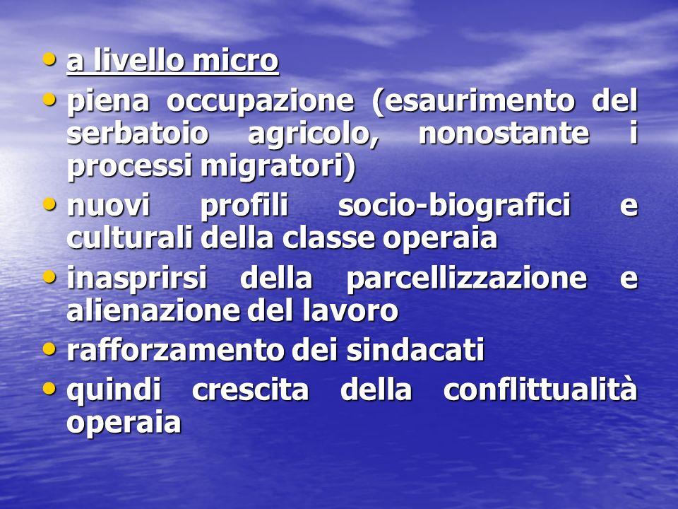 a livello micro a livello micro piena occupazione (esaurimento del serbatoio agricolo, nonostante i processi migratori) piena occupazione (esaurimento