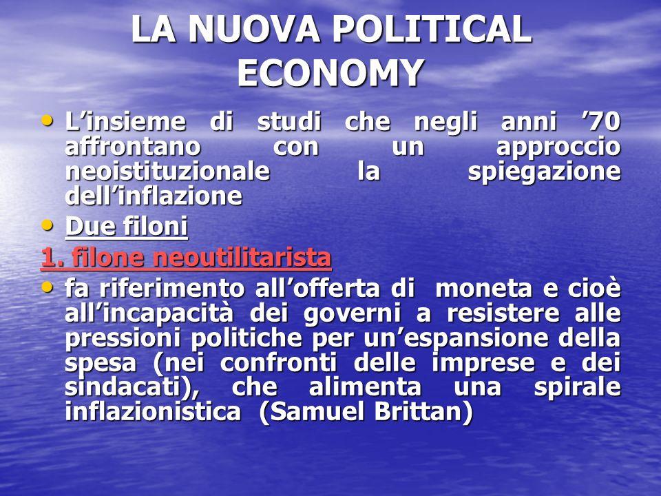 LA NUOVA POLITICAL ECONOMY Linsieme di studi che negli anni 70 affrontano con un approccio neoistituzionale la spiegazione dellinflazione Linsieme di