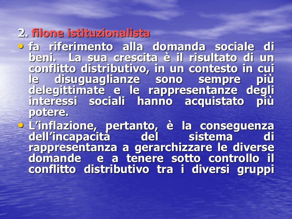 2. filone istituzionalista fa riferimento alla domanda sociale di beni. La sua crescita è il risultato di un conflitto distributivo, in un contesto in