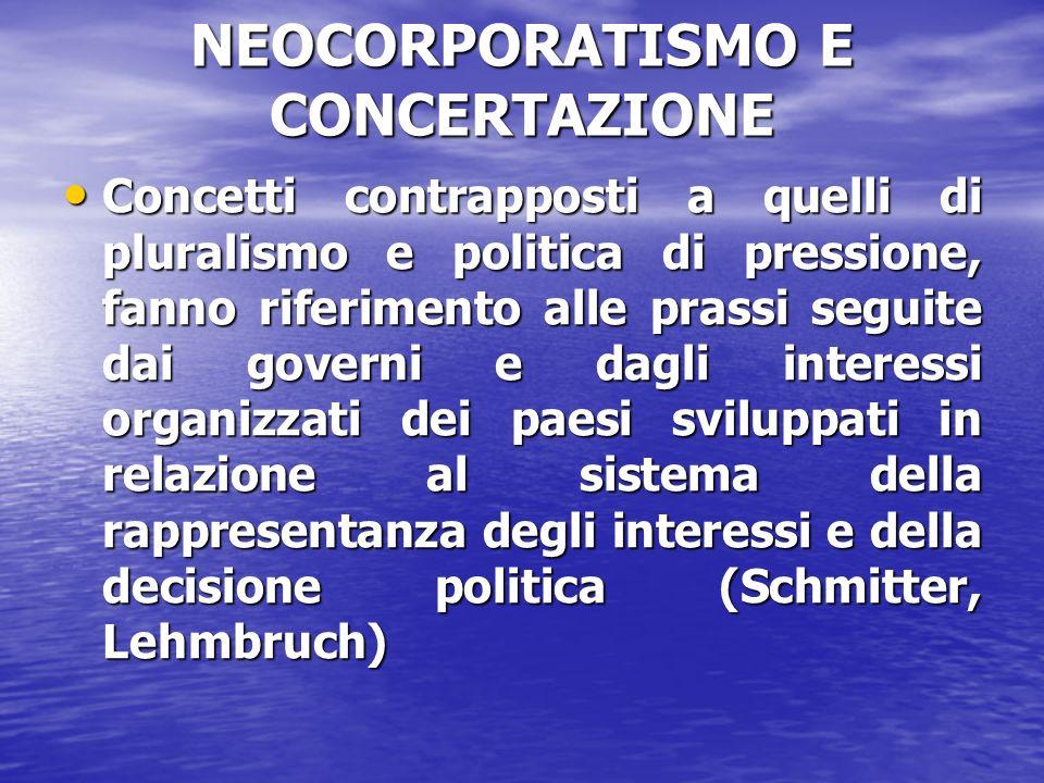 NEOCORPORATISMO E CONCERTAZIONE Concetti contrapposti a quelli di pluralismo e politica di pressione, fanno riferimento alle prassi seguite dai govern