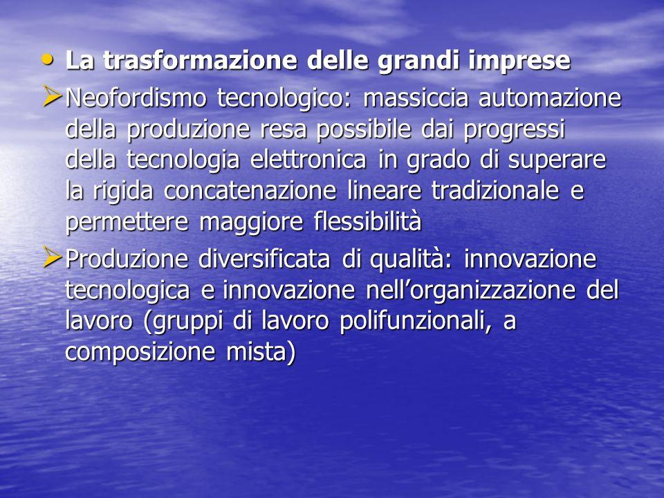 La trasformazione delle grandi imprese La trasformazione delle grandi imprese Neofordismo tecnologico: massiccia automazione della produzione resa pos