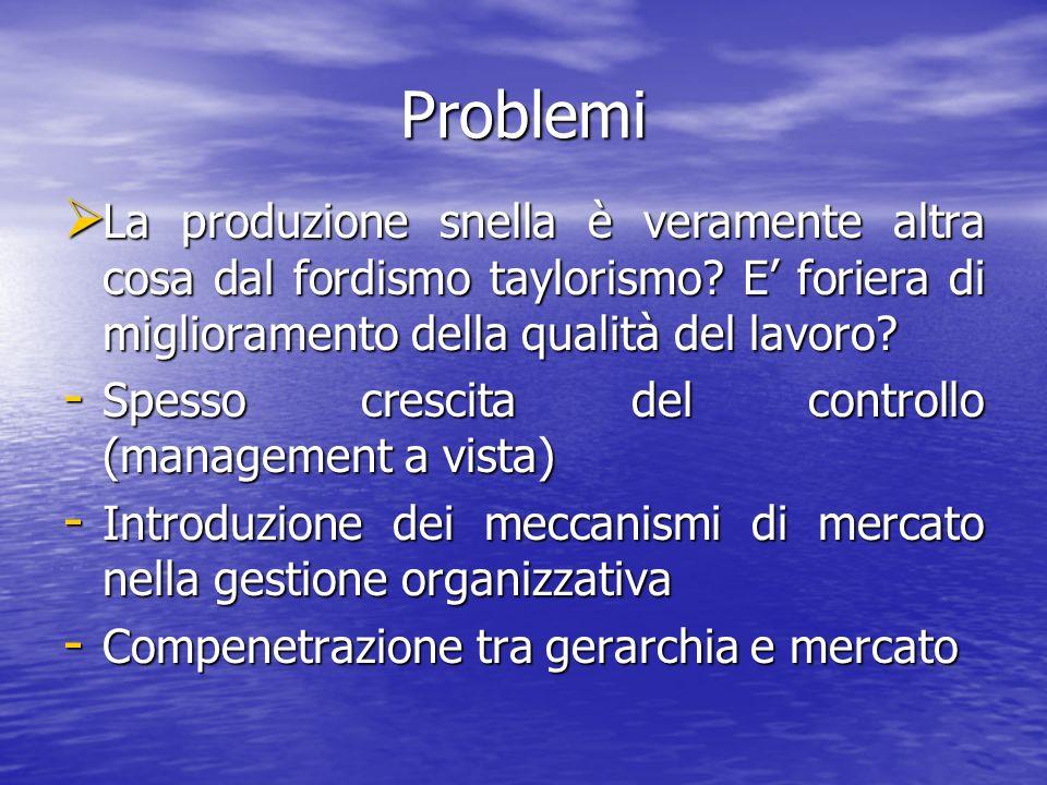 Problemi La produzione snella è veramente altra cosa dal fordismo taylorismo? E foriera di miglioramento della qualità del lavoro? La produzione snell