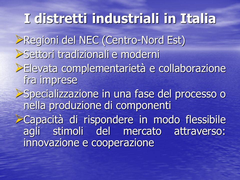 I distretti industriali in Italia Regioni del NEC (Centro-Nord Est) Regioni del NEC (Centro-Nord Est) Settori tradizionali e moderni Settori tradizion