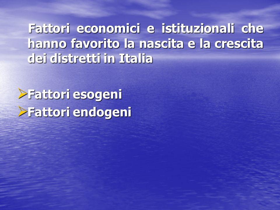Fattori economici e istituzionali che hanno favorito la nascita e la crescita dei distretti in Italia Fattori economici e istituzionali che hanno favo