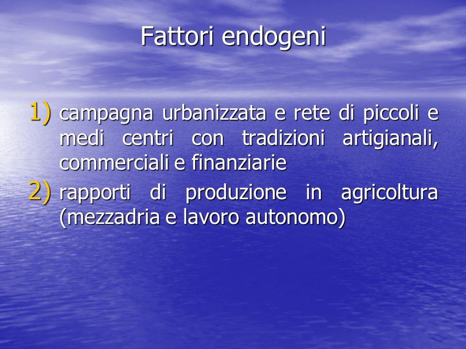 Fattori endogeni 1) campagna urbanizzata e rete di piccoli e medi centri con tradizioni artigianali, commerciali e finanziarie 2) rapporti di produzio